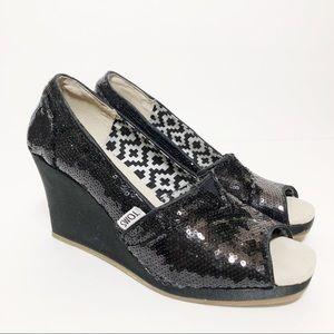 Toms Sequin Peep Toe Wedges